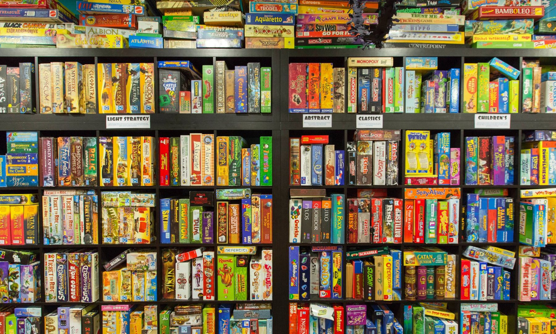 Image result for book case of board games